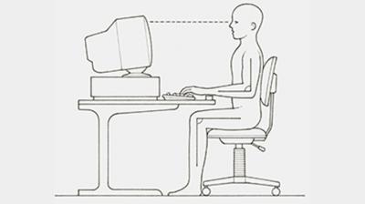 الجلوس الصحيح امام الحاسوب